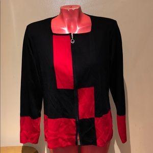 Misook jacket top shirt sweater zip blouse cardiga